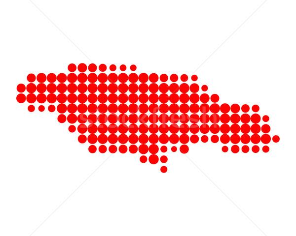 Kaart Jamaica Rood patroon cirkel Stockfoto © rbiedermann