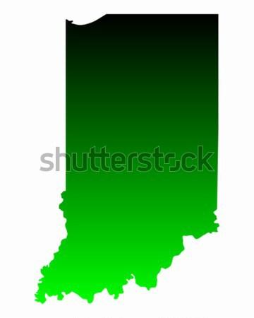 Kaart Indiana groene Blauw reizen amerika Stockfoto © rbiedermann