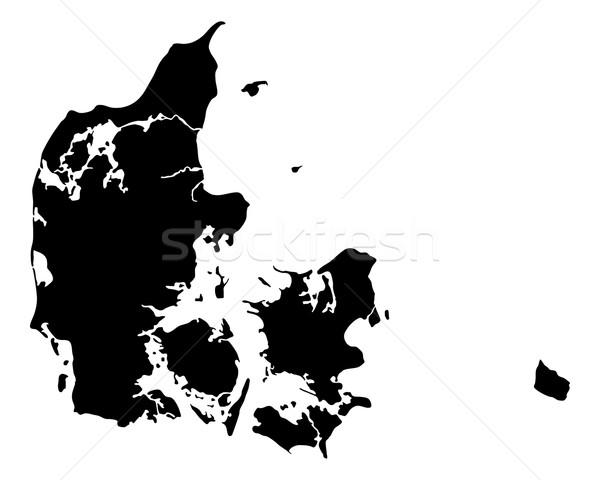 Harita Danimarka seyahat siyah vektör Stok fotoğraf © rbiedermann