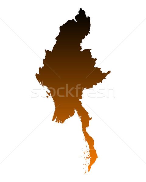 карта Мьянма путешествия вектора изолированный иллюстрация Сток-фото © rbiedermann