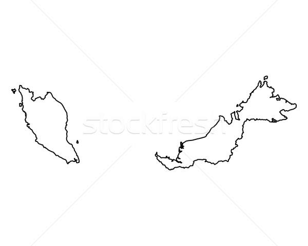Mapa Malásia fundo isolado ilustração Foto stock © rbiedermann