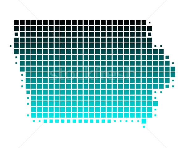 Térkép Iowa zöld kék minta Amerika Stock fotó © rbiedermann