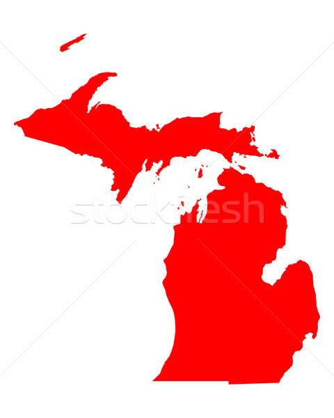 Harita Michigan seyahat kırmızı Amerika ABD Stok fotoğraf © rbiedermann
