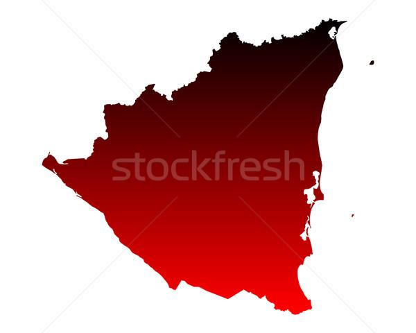 Mapa Nicarágua viajar vermelho vetor Foto stock © rbiedermann