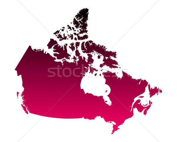 Mapa Canadá fundo rosa linha vetor Foto stock © rbiedermann