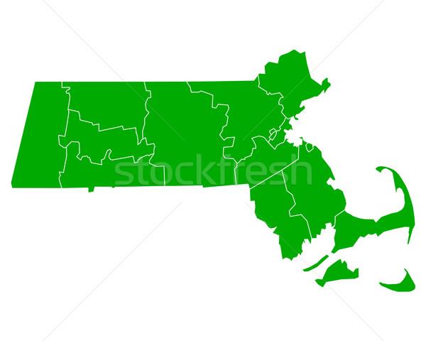 карта Массачусетс фон зеленый линия вектора Сток-фото © rbiedermann