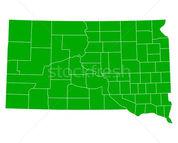 Kaart South Dakota achtergrond groene lijn USA Stockfoto © rbiedermann