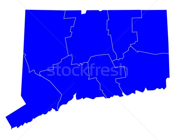 Mapa Connecticut azul viajar EUA isolado Foto stock © rbiedermann