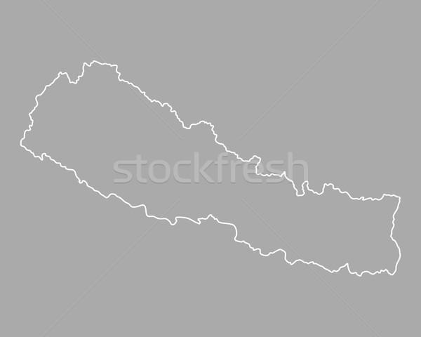 Mapa Nepal vetor isolado cinza Foto stock © rbiedermann