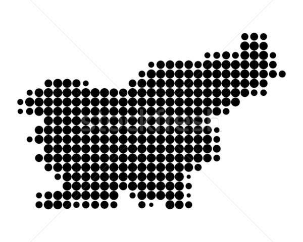 Mapa Eslovenia preto padrão círculo Foto stock © rbiedermann