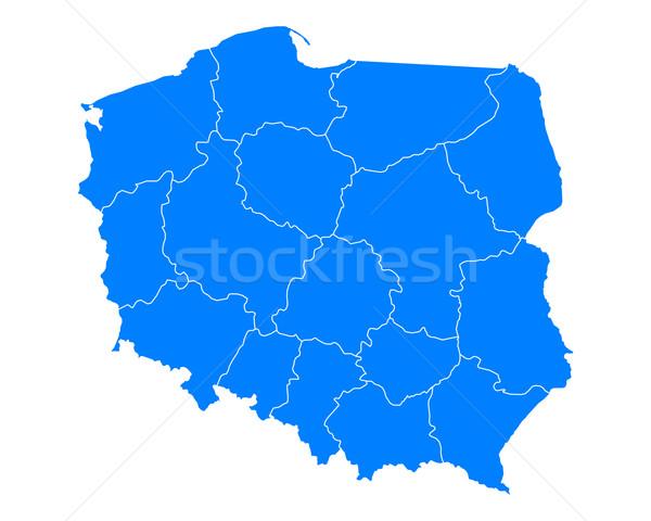 Carte Pologne bleu Voyage isolé illustration Photo stock © rbiedermann
