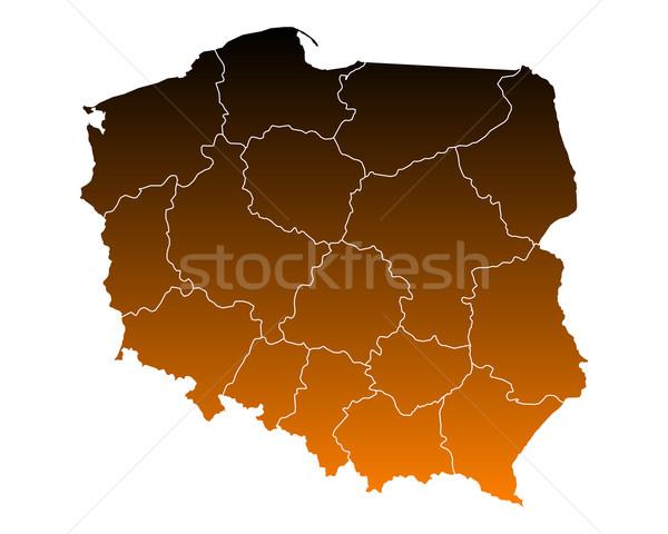 Сток-фото: карта · Польша · путешествия · изолированный · иллюстрация · коричневый
