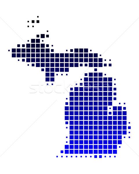 Mapa Michigan azul padrão américa EUA Foto stock © rbiedermann
