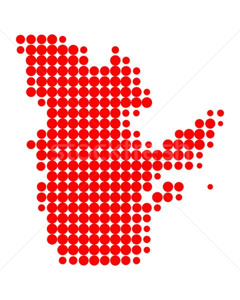 Kaart Quebec Rood patroon cirkel punt Stockfoto © rbiedermann