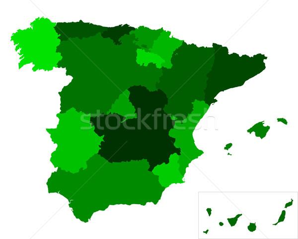 Kaart Spanje achtergrond reizen lijn vector Stockfoto © rbiedermann