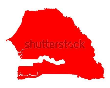карта Сенегал путешествия красный вектора Сток-фото © rbiedermann