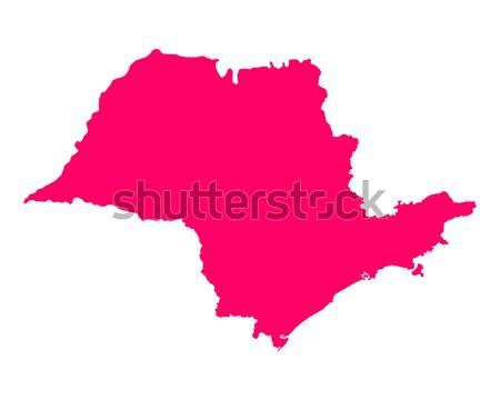 Térkép Sao Paulo rózsaszín vektor izolált illusztráció Stock fotó © rbiedermann