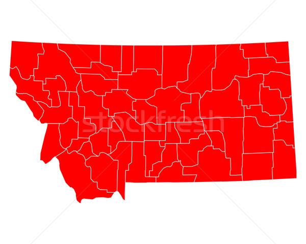 карта Монтана путешествия красный США изолированный Сток-фото © rbiedermann