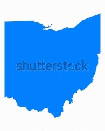 Kaart Ohio Blauw reizen amerika USA Stockfoto © rbiedermann