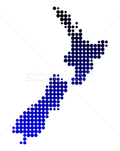 Térkép Új-Zéland sziget vidék új kör Stock fotó © rbiedermann