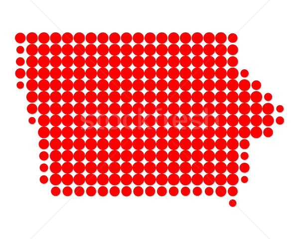 Harita Iowa kırmızı model Amerika daire Stok fotoğraf © rbiedermann