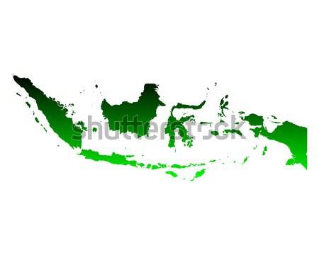 Kaart Indonesië groene vector geïsoleerd Stockfoto © rbiedermann