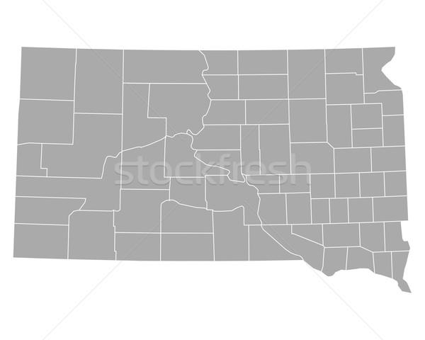 Térkép Dél-Dakota háttér vonal USA vektor Stock fotó © rbiedermann