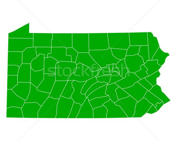 Térkép Pennsylvania háttér zöld vonal vektor Stock fotó © rbiedermann