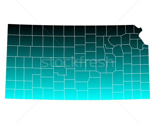 Harita Kansas yeşil mavi ABD vektör Stok fotoğraf © rbiedermann