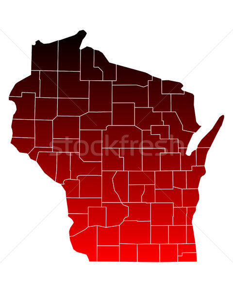 Carte Wisconsin Voyage rouge USA isolé Photo stock © rbiedermann