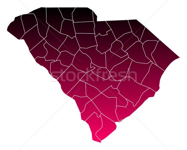 Kaart South Carolina achtergrond lijn paars USA Stockfoto © rbiedermann