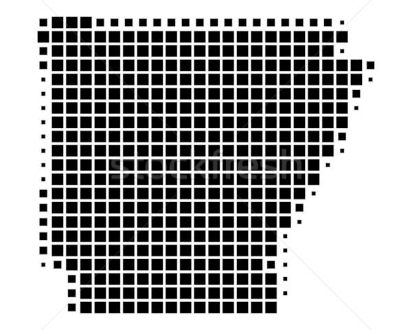 Térkép Arkansas fekete minta Amerika tér Stock fotó © rbiedermann