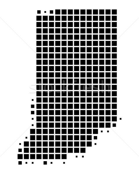 Stockfoto: Kaart · Indiana · zwarte · patroon · amerika · USA