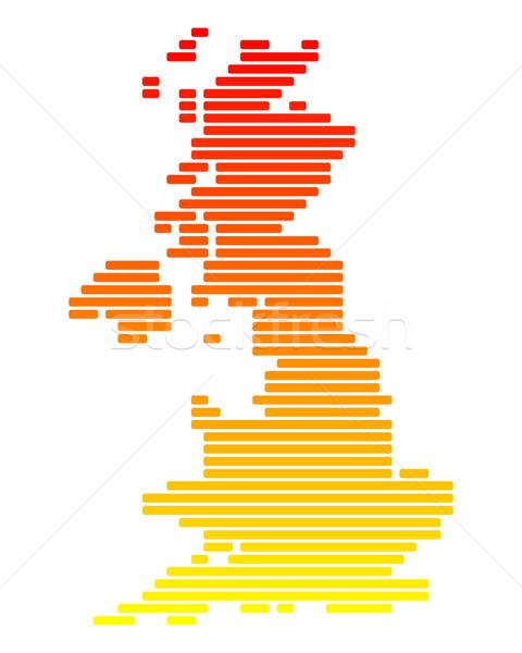 Mappa gran bretagna arancione Inghilterra line linee Foto d'archivio © rbiedermann
