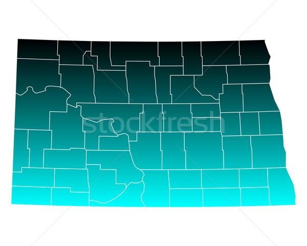 Kaart North Dakota groene Blauw USA vector Stockfoto © rbiedermann