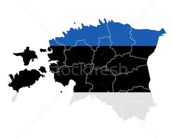 Mapa bandeira Estônia viajar bandeira vetor Foto stock © rbiedermann