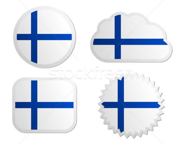Finnország zászló címkék papír terv felirat Stock fotó © rbiedermann