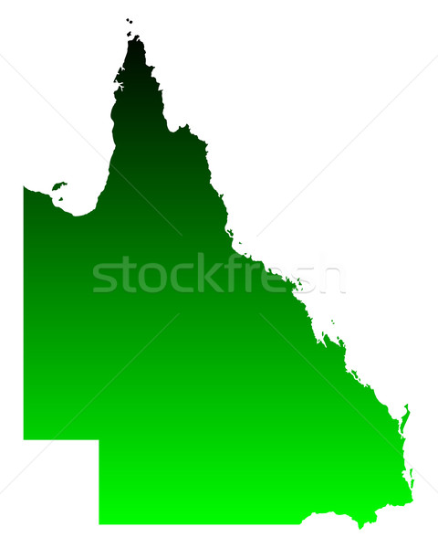 Carte queensland vert vecteur Australie isolé Photo stock © rbiedermann