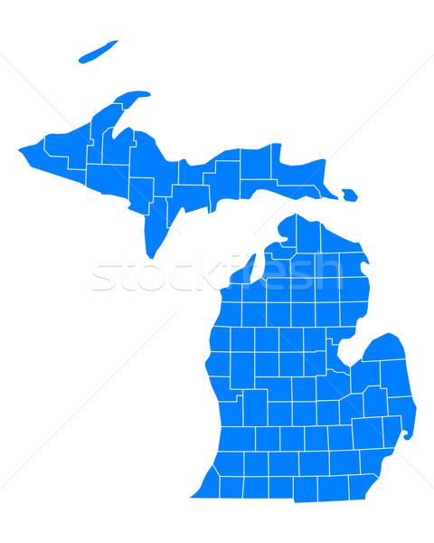 Mappa Michigan sfondo blu line vettore Foto d'archivio © rbiedermann