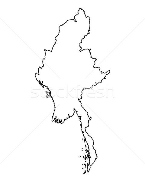 карта Мьянма фон изолированный иллюстрация Сток-фото © rbiedermann