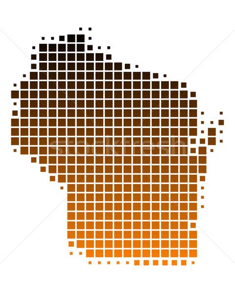 карта Висконсин шаблон Америки США квадратный Сток-фото © rbiedermann