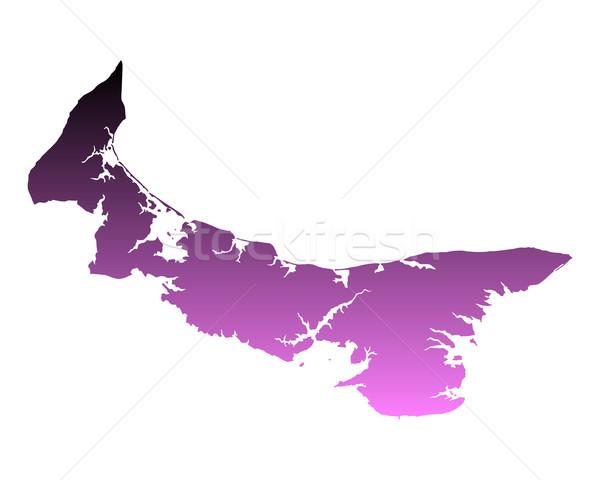 Harita prince edward adası ada pembe vektör yalıtılmış Stok fotoğraf © rbiedermann