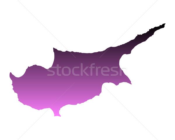 Kaart Cyprus roze vector geïsoleerd Stockfoto © rbiedermann