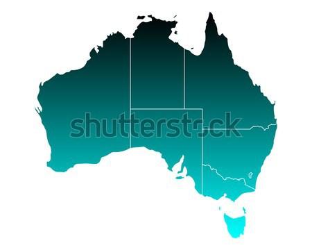 Kaart Australië Blauw vector geïsoleerd illustratie Stockfoto © rbiedermann