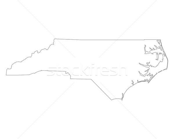 Mapa Carolina do Norte fundo branco linha EUA Foto stock © rbiedermann