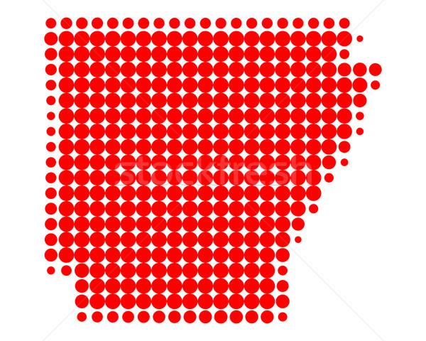Térkép Arkansas piros minta Amerika kör Stock fotó © rbiedermann