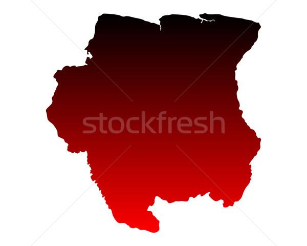 карта Суринам красный вектора изолированный Сток-фото © rbiedermann
