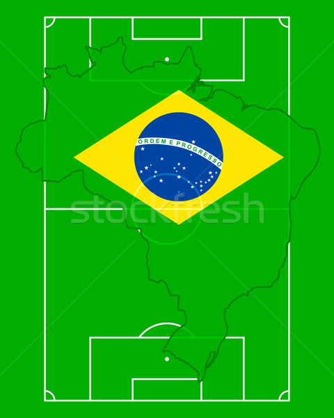 Soccer field with map and flag of Brazil Stock photo © rbiedermann