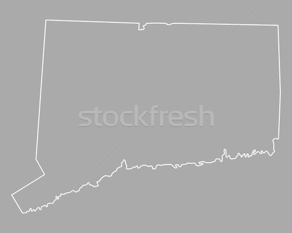Foto stock: Mapa · Connecticut · fundo · linha · EUA