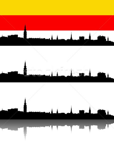 силуэта Австрия город фон Церкви флаг Сток-фото © rbiedermann